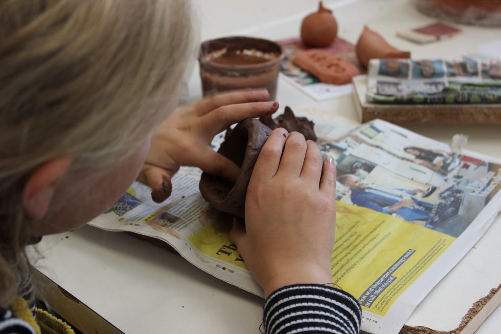 pottery, clay, potting, children, fun, newspaper,